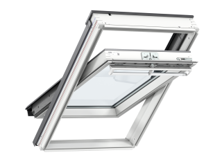 VELUX - GGL MK08 S10W02 - WP centre-pivot RW, insulated tile flashing, beige duo-blackout blind